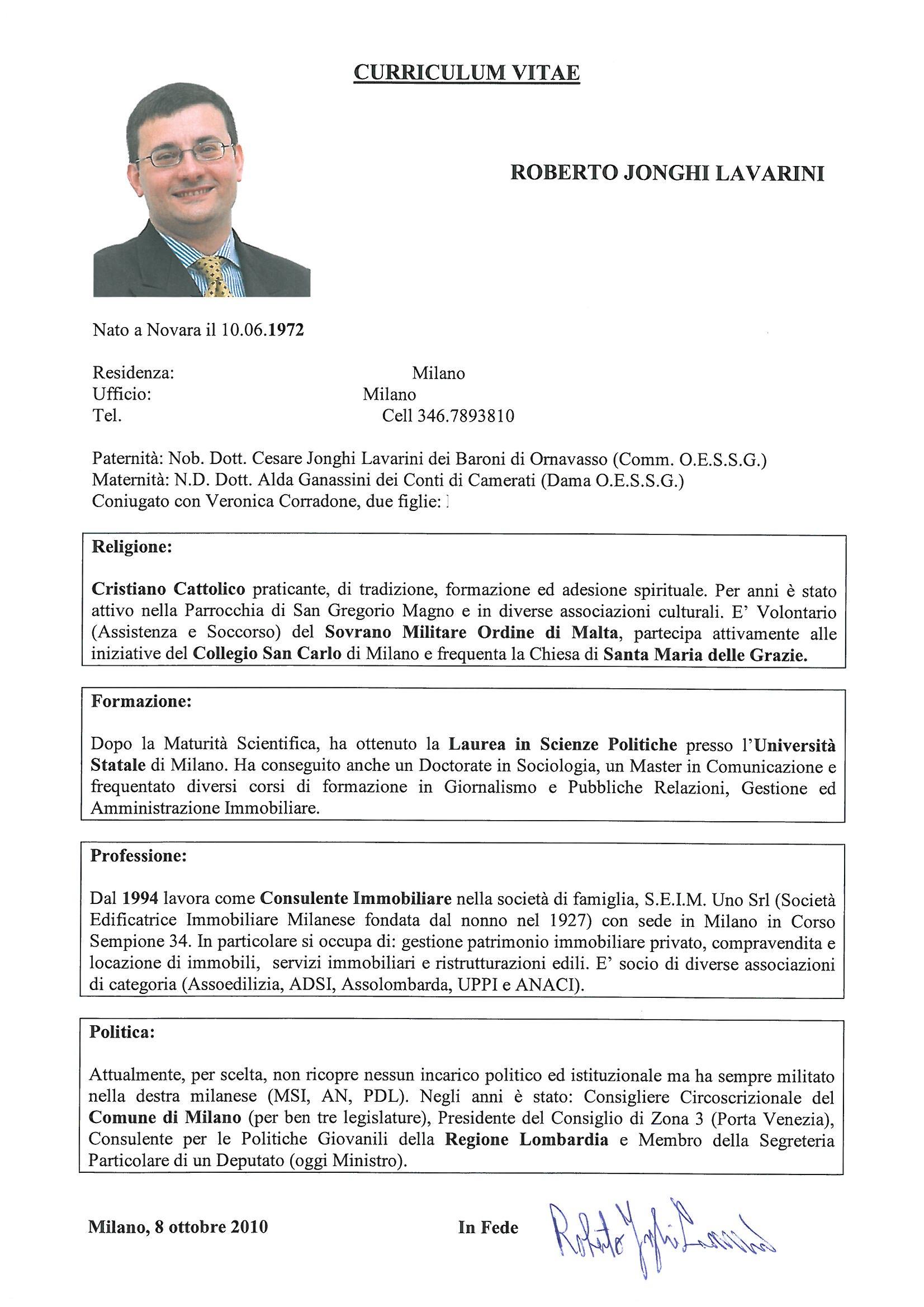 Esempio Curriculum Segretaria Amministrativa